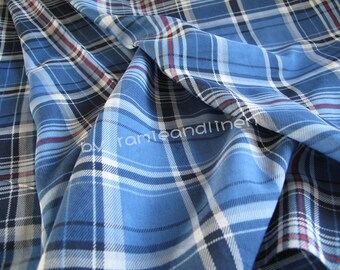 "silk fabric, silk cotton blend blue plaid check fabric, dress fabric, shirt fabric, scarf fabric, one yard by 53"" wide"