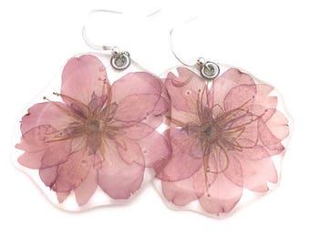 Cherry blossom, Sakura, Gardener Gift, Nature Lover, pressed flower, Botanical jewelry, Great gift, real pressed cherry blossom earrings