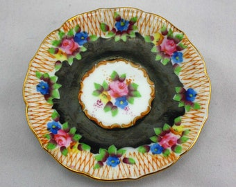 Small Vintage Saucer Made in Occupied Japan - Miniature Plate or Saucer - Decorative Floral Plate - Tiny Tea Set Plate