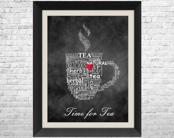 Kitchen Art Typographic Print, Time For Tea, Chalkboard Art, Kitchen Wall Decor, Kitchen Wall Art, Kitchen Poster Print, Chalk Art