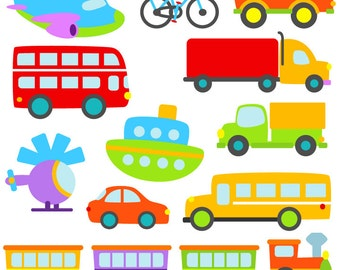 Transportation Clip Art Clipart with Car, Truck, Train, Helicopter, Plane, Boat, Bus, Scooter - Commercial and Personal Use