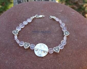 Pink Rose Quartz Gemstone Bracelet Karen Hill Tribe Sterling Silver Stacking Bracelet Valentine Gift For Her Handmade Jewelry