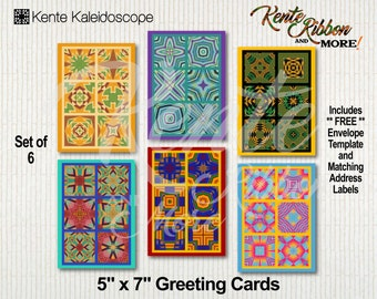 DIY - Set of 6 Printable 5x7 Greeting Card Templates in Kente Kaleidoscope - FREE A7 Envelope Template and Matching Address Labels
