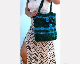 Rose crochet tote - Cotton green beach purse- Green blue crochet women handbag- Casual tote- Summer flowers crochet purse- Flowers green bag