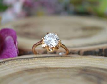 Ring,Gold Ring,Engagement Ring, Vintage Wedding Ring,Cubic Zirconia Ring.