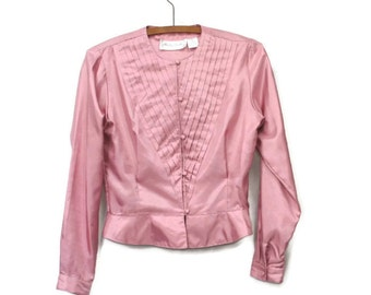 Blouse Vintage Blouse Girly Feminine Long Sleeve Rose Pink 1980s Victorian Look Melody Brooke Size 5