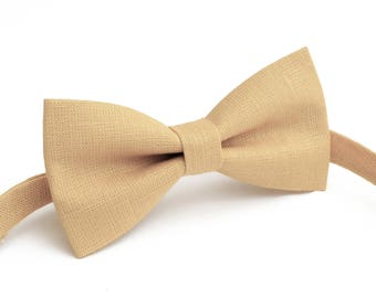 Sand color   linen bow tie, wedding necktie, linen necktie,  groomsmen necktie,  neckt, bow tie for men