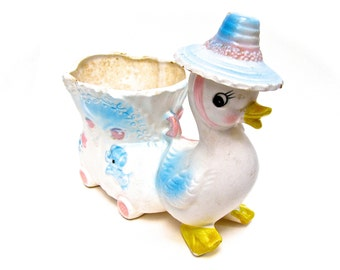 Ceramic Duckling Planter, Hand Painted, Baby's Room Decor, Vintage NapCo Ceramics, Made in Japan, Baby Shower or Duck Collectors Gift