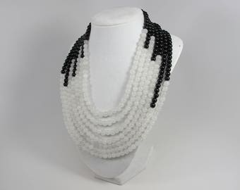 Black and White multi strand Necklace Statement Necklace - White stone  Necklace – Black Pearl Necklace - Bridal Pearls Bridesmaid Gift