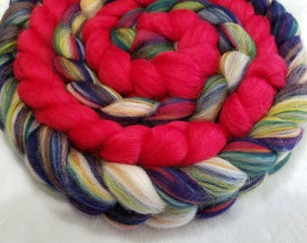 Multi-Colored Merino Granada and Red Merino/Silk 80/20 Combed Top - 2 oz each  - Wool Spinning Roving Fiber