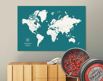 Push Pin Map (Lagoon) Push Pin World Map Pin Board World Travel Map on Canvas Push Pin Travel Map Personalized Wedding/Anniversary Gift