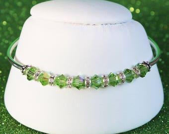 Spring Green Swarovski Crystal and Sterling Silver Bracelet