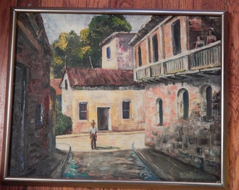 Vintage Painting . Oil on Canvas . Mexican Village Scene