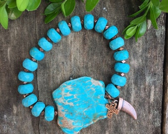 Not My First Rodeo Slab Bracelet,Turqoise Magnesite Bracelet,Turquoise Bracelet,Boho chic,Western Jewelry
