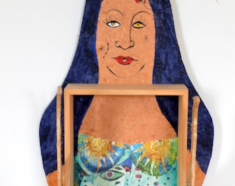 Gypsy Woman Sculpture Collage Box Mixed Media