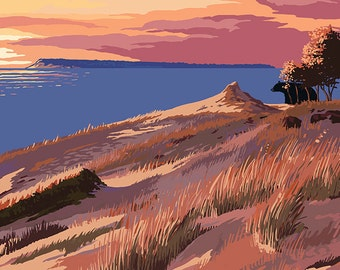 Sleeping Bear Dunes, Michigan - Dunes Sunset and Bear (Art Prints available in multiple sizes)
