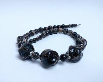Vintage (faux?) amber necklace dark amber resin