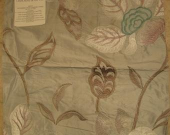 Osborne Little Angelique Embroidered Silk Designer Fabric Sample Floral Designers Guild