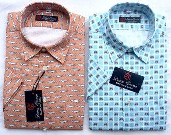 Men's short sleeve shirt, dress shirt, button down shirt, crab shirt, fish shirt