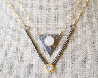 SET of TWO layering gold necklaces with rainbow moonstones - oxidized silver triangle + mixed metal chevron /// june birthstone