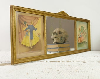 Ancien miroir en bois avec 2 Litho sandre Morris Bendien Litho New York USA