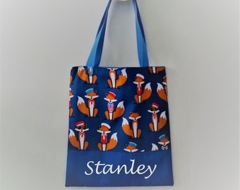 Tote bag printed cotton boy foxes bag library boy personalized name.