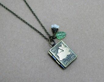 Bunny Rabbit Book Locket Necklace