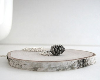 Pinecone Necklace, Silver Pinecone, Tiny Pine Cone Necklace, Antiqued Silver Look, Woodland Necklace, Sterling Silver Chain