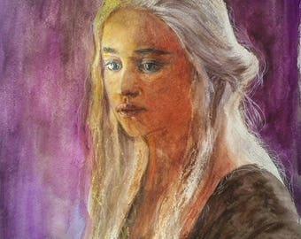 Dayeneris Targarien Queen Game Thrones fantasy mysticism pencils watercolor fire dragons dragon mother