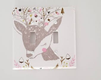Woodland Light Switch Cover - Double light Switch Cover- Switch Plate Cover-Nursery Decor-Nursery Light switch cover-Pink light switch cover