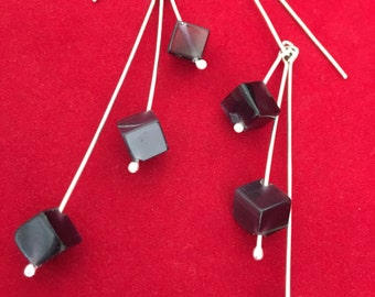 Sterling Silver Plum Cube Earrings
