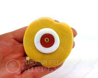 Extra Large Evil Eye, Bohemian Jewelry, Oxide Yellow Evil Eye Pendant Nazar, Rustic Handmade, Traditional Good Luck Evil Eye Bead