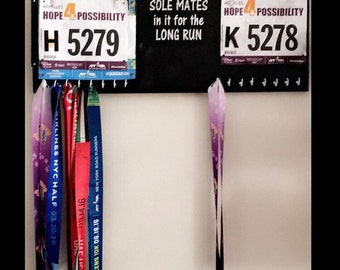 ON SALE Running medal holder - running medal hanger - race bib display - gifts for runners - his and hers race medal holder - soul mates med