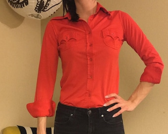 Vintage 70's Polyester Western Button Front Blouse