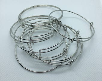 10 piece set of silver bangle bracelets - destashing my supplies!