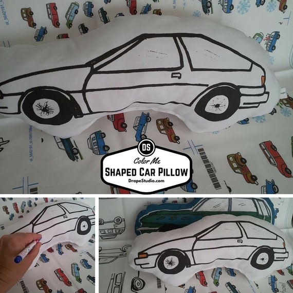 READY to SHIP Color Me Fabric Car Shaped Pillow, Nursery Decor, Boy Pillow, Kids Coloring Soft Toy Pillow Fun Birthday Activity