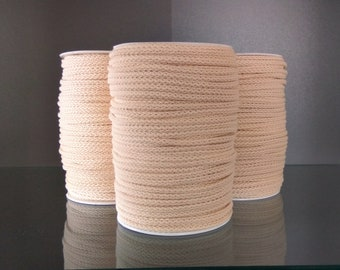 Set of three spools: Macrame cord 5mm cotton rope 3 x 100m spools bulk braided cotton rope 100% Natural color macrame cotton cord macrame