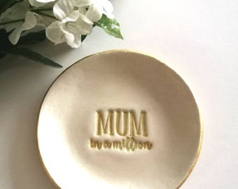 Ring Dish / Mothers Day Gift / Gifts For Mum / Gifts For Her / Clay Trinket Dish / Small Gifts For Mum / Mum In A Million / Mothers Day