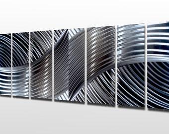"Silver Wall Art Panels Large Metal Wall Art Sculpture Contemporary Metal Decor Multi Panel Metal Art Aluminum ""Unique Perspective"""