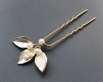 Gold Pearl Bridal Hair Pin, Gold Wedding Hair Pin, Gold Hair Pin, Floral Gold Hair Pin, Floral Hair Pin, Hair Pin for Wedding, Bride - 7044