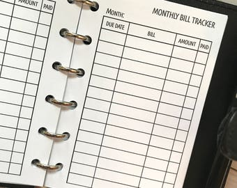 Monthly Bill Tracker Printed Planner Inserts | Pocket Size Planner | Finance Planner