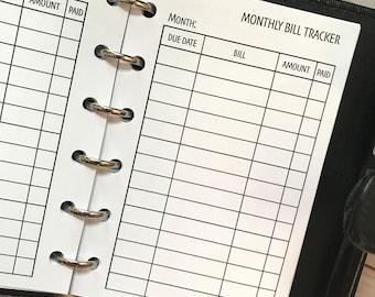 Monthly Bill Tracker Printed Planner Inserts | Pocket Size Planner | Finance Planner