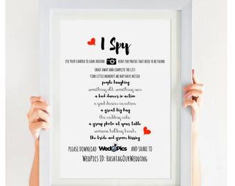 WedPics I Spy Wedding Game Wedding I Spy Printable Wedding Games Sign Wedding Reception PDF JPEG Hashtag Sign Wed Pics Sign #CWS308
