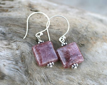 Square Lepidolite Gemstone Earrings, Lepidolite and Sterling Silver Earrings, Geometric Jewelry, Minimalist Earrings, Square Earrings