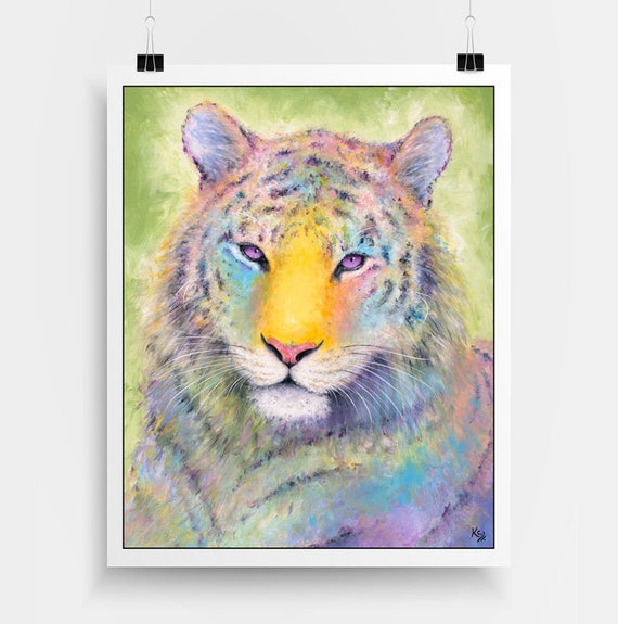 "Tiger Art Print - Tiger Gift, Zoo Animals Art, Rainbow Tiger Decor, Colorful Zoo Art, Amur Tiger Print of my Tiger Painting ""Tigress"""