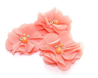 3 Mini Rhinestone Chiffon Flowers--Peach