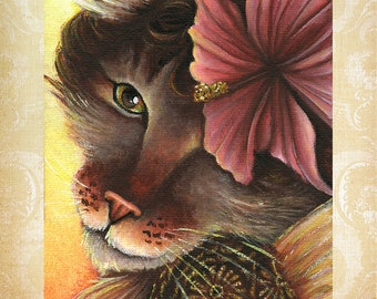 Hibiscus Fairy Cat, Flower Fantasy Art 8x10 Fine Art Reproduction Print