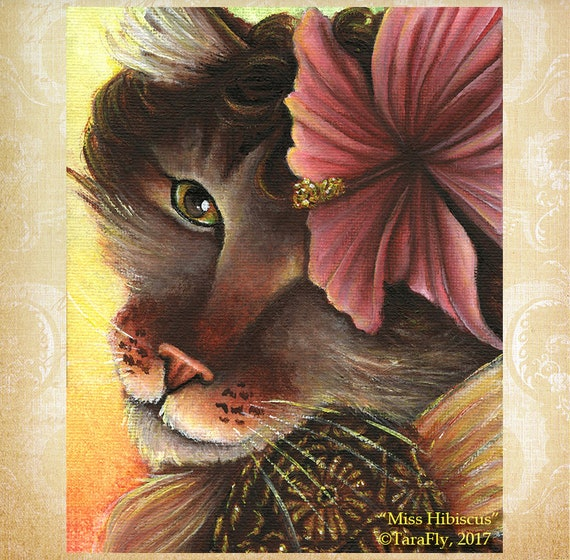 Hibiscus Fairy Cat 8x10 Fine Art Print