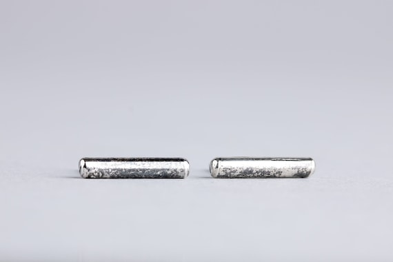 Silver Bar Earrings - Line Earrings - Ear Climber Crawler Earrings - Oxidized Sterling Silver Rustic Post Stud Earrings - Smooth Threads