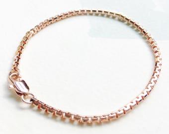 Rose Gold Bracelet - Rose Goldfilled Bracelet - Minimalist Rose Gold Bracelet -Rose Gold Box Chain Bracelet - Gold Bracelet - Box chain